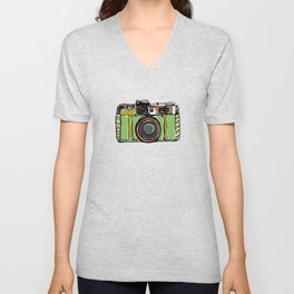 Vintage film camera and bicycles, seamless pattern pastel colors Unisex V-Neck