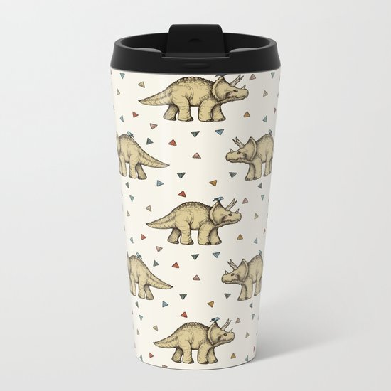 Triceratops & Triangles Metal Travel Mug