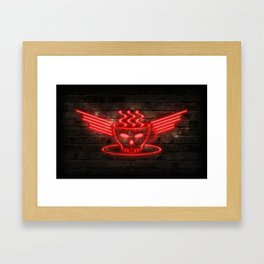 Barista Core Neon Framed Art Print