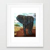 african Framed Art Prints featuring African Elephant by Ben Geiger