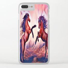 Wild Stallions Playing Clear iPhone Case