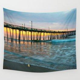 Beach Pier Sunrise Ocean Outer Banks Nags Head North Carolina Print Wall Tapestry