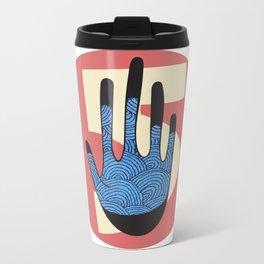 High Five in Blue Metal Travel Mug