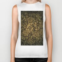 damask Biker Tanks featuring Decorative damask by nicky2342
