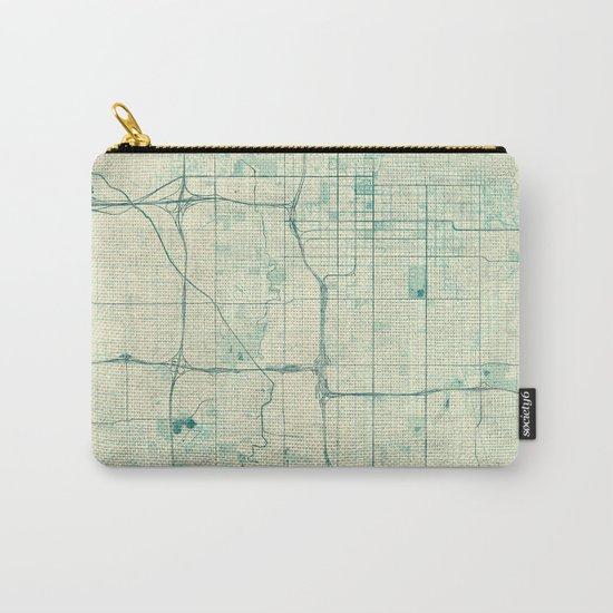Salt Lake City Map Blue Vintage Carry-All Pouch