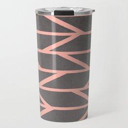 Modern blush pink stripes chevron geometric grey concrete cement background Travel Mug