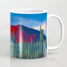 Green Cactus Field In The Desert With Red Mountains Blue Grey Sky Landscape Photography Coffee Mug