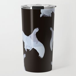 White Willow grouse Birds On A Black Background #decor #buyart #society6 Travel Mug