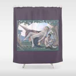 Dionysus and Satyr Shower Curtain