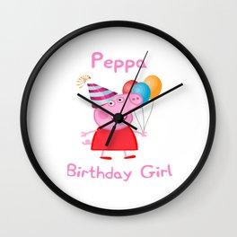 peppa birthday girl Wall Clock