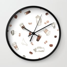 Coffee Sketches Collage 2 Wall Clock
