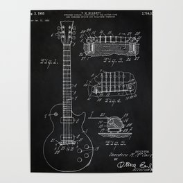 Gibson Guitar Patent Les Paul Vintage Guitar Diagram Poster