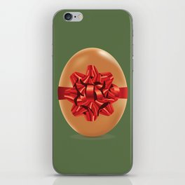Chicken egg with red bow iPhone Skin