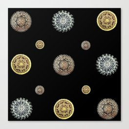 Silver, Gold, and Rose Gold 'Random' Textile on Black Canvas Print