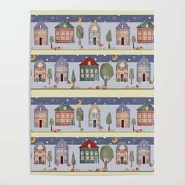 Kids patchwork seamless pattern with houses and trees Poster