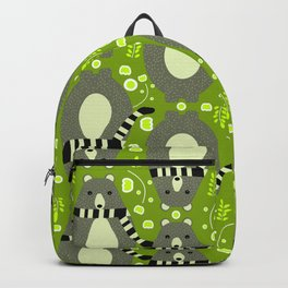 Bears and flowers in green Backpack
