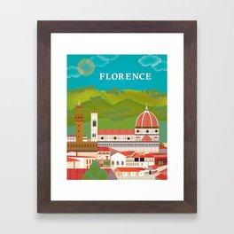 Florence, Italy - Skyline Illustration by Loose Petals Framed Art Print