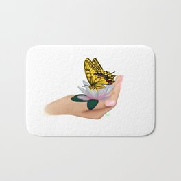 Butterfly on water lily Bath Mat