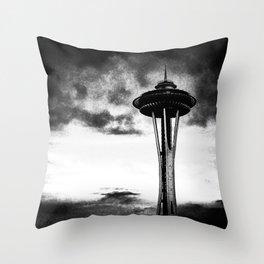 Space Needle (B+W) Throw Pillow
