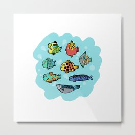 Fish Portrait in Sea Metal Print