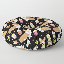 corgi boba tea bubble tea cute kawaii dog breed fabric welsh corgis dog gifts Floor Pillow