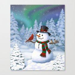 Cute Happy Christmas Snowman with Birds Canvas Print