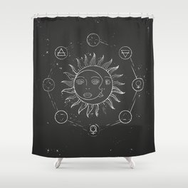Moon, sun and elements Shower Curtain