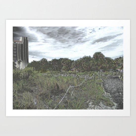 Siesta Keys Beach Trail in Chrome Art Print