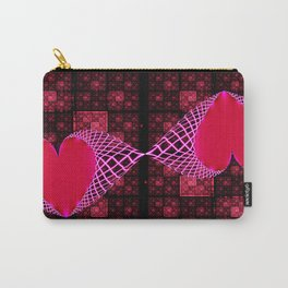 Fractal Art- Heart Art- Red Art, Black Art-Pink Art-Pink Hearts- Kissez Carry-All Pouch