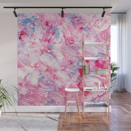 Pink white brushstrokes candy acrylic paint Wall Mural