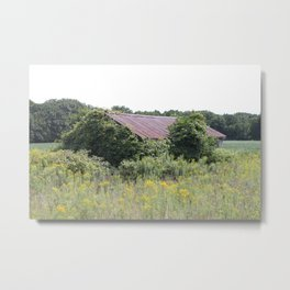 Hidden barn in the middle of the field. Metal Print