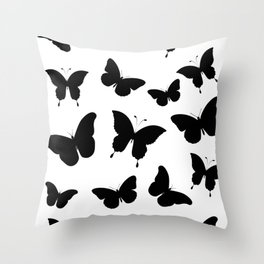 Black and White Butterflies Throw Pillow