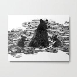 A Dip in the Lake - Mama Bear and Cubs Swim in Lake Tahoe Metal Print