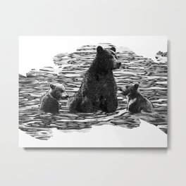 A Dip in the Lake - Mama Bear and Cubs Swim in Lake Tahoe Metal Print