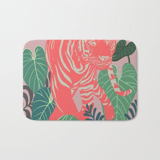 Aloha Tiger, Tiger print, Animal print, jungle print Bath Mat