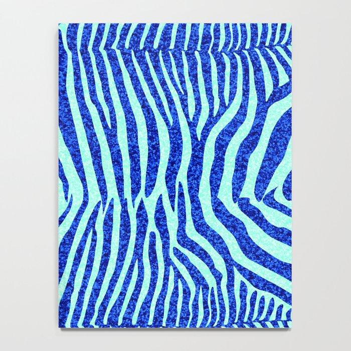 Blue Glitter Zebra Print Notebook