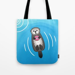 Sea Otter with Donut - Cute Otter Holding Doughnut Tote Bag