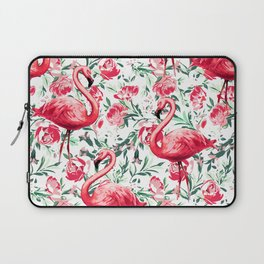 Flowers and Flamingos Laptop Sleeve
