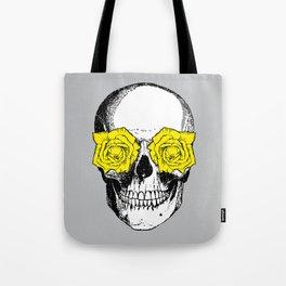 Skull and Roses | Grey and Yellow Tote Bag