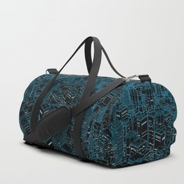Night light city / Lineart city in blue Duffle Bag