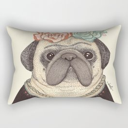 Frida Pug Kahlo Rectangular Pillow