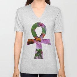 """Life"" - Ankh with Purple Cone Flowers Unisex V-Neck"