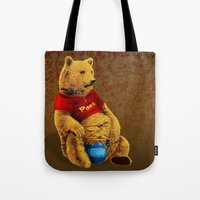 pooh Tote Bags featuring Pooh by J ō v