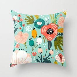 Mid-Century Modern Floral Print With Trendy Leaves Throw Pillow