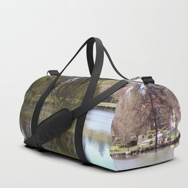 Old Weeping Willow Tree Standing Next To Pond Duffle Bag