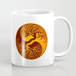 Red and Yellow Tree of Life Yin Yang Coffee Mug