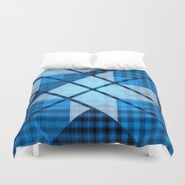 Abstract Geometric Blue Plaid Design Duvet Cover