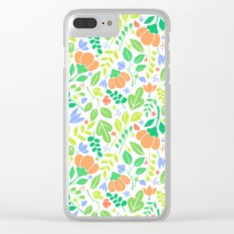 Lacy Floral Color Pattern Clear iPhone Case