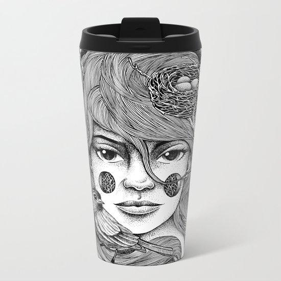 THE GIRL AND THE BIRD Metal Travel Mug