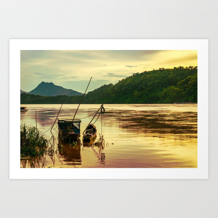 Sunset over the Mekong River Art Print